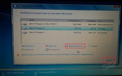 Форматирование жесткого диска перед установкой Windows 7