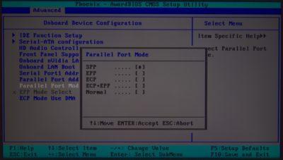 Parallel port mode в БИОСе что это?